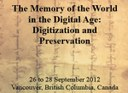 """""""The Memory of the World in the Digital Age: Digitization and Preservation"""" - call for papers"""