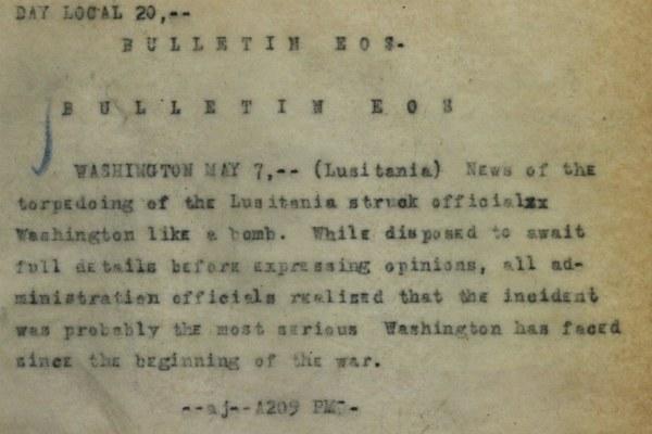 1915, dispaccio dell'Associated Press sull'affondamento del transatlantico britannico Lusitania - Library Of Congress