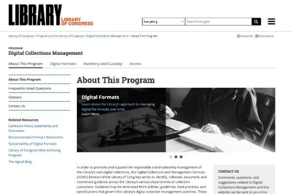 Digital Management Collections Compendium - il sito della Library of Congress