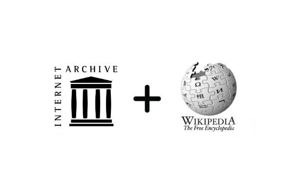 i loghi dell'Internet Archive  e di Wikipedia